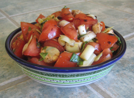 """Catprese"" salad. Credit for the name goes to Bill, who always invites me to forage the back yard when we visit."