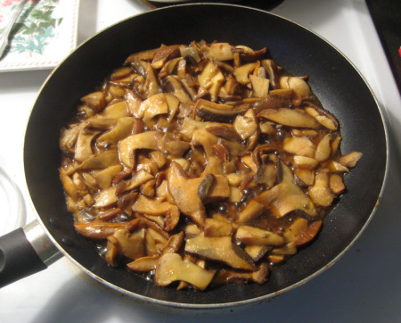 Sauteed Suillus tomentosus exude a mild-flavored brown sauce than can be cooked off.