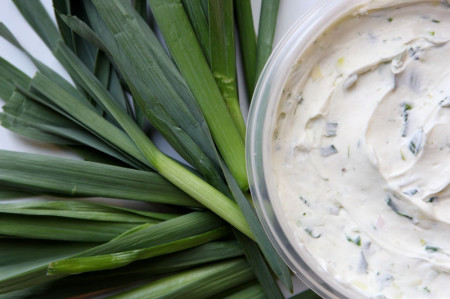 Wild onion cream cheese spread, simple but very tasty.